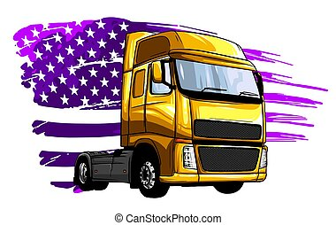 lastbil, tecknad film, illustration, vektor, halv-, design, konst
