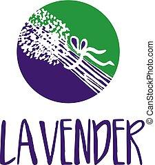 lavender., abstrakt, illustration, vektor, design, mall, logo, ikon