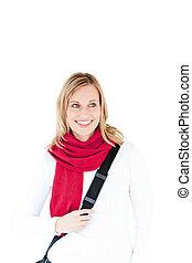 le, kamera, kvinna, röd, tröttsam, scarf, lycklig