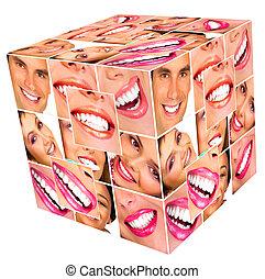 le, kvinna, kub, collage.