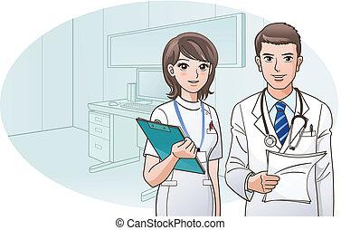 le, tillitsfull, läkare, sköta