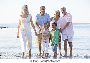 le, vidgad, strand, familj