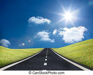 ledande, väg, ute, horisont
