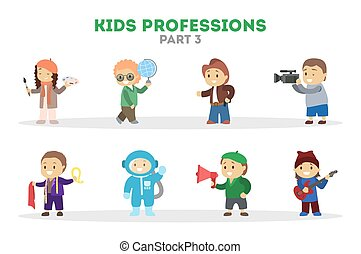 lek, lurar, set., arbetare, olik, kollektion, barn