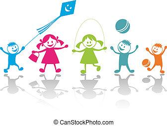 leka, lycklig, barn