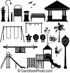 lekplatsen, parkera, barn, trädgård