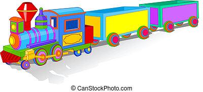 leksak, färgrik, tåg