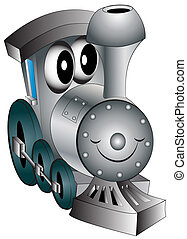 leksak, munter, barnkammare, lokomotiv