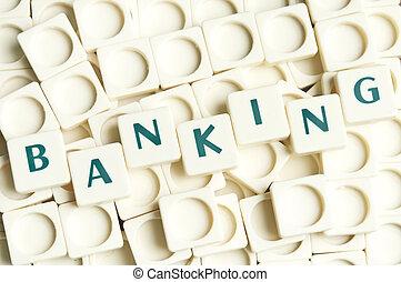 leter, bankrörelse, gjord, ord, styckena