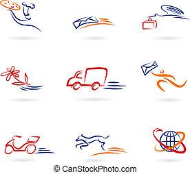 leverans, logo, ikonen