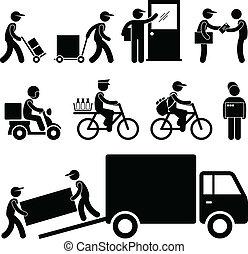 leverans, post, brevbärare, kurir, man