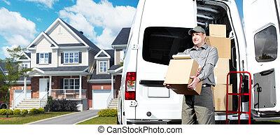 leverans, post service, man.