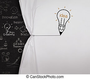 lightbulb, blyertspenna, rita, begrepp, visa, rep, papper, svart, bord, tom, rynkig, öppna