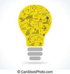 lightbulb, klotter, idé, topplista, infographics, ikon