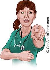 likformig, skura, pekande, läkare, kvinna, sköta, eller