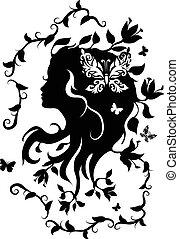 lilja, kvinna, kurort, teckning