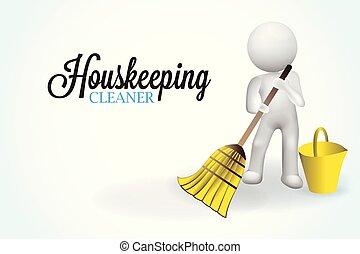 liten, 3, housecleaning, folk
