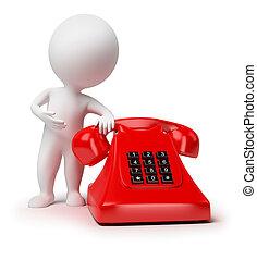 liten, 3, -, telefon, folk