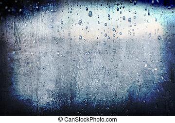 liten droppe, abstrakt, grunge, regna, bakgrund