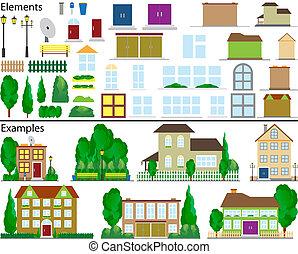 liten, förorts-, houses.