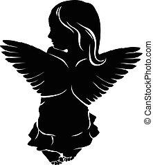 liten flicka, ängel vinge
