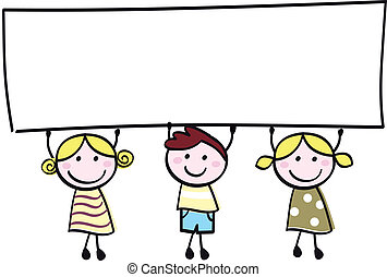 litet, holdingen, baner, lycklig, tom, söt, -, pojke, flickor, tom, tecknad film, illustration.