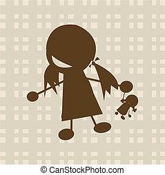 litet, leka, flicka, docka