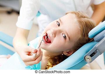 litet, tandläkare, flicka, besökande