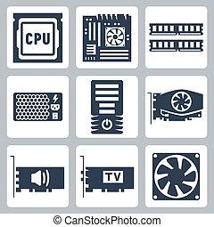 ljud, järnvaror, vektor, fall, driva, ikonen, kylare, moderkort, enhet, bagge, kort, cpu, dator, video, tv-tuner, set: