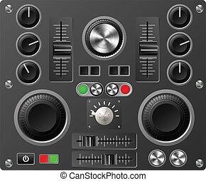ljud, studio, bord, kontroller, eller