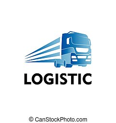 logistisk, transport, logo, lastbil