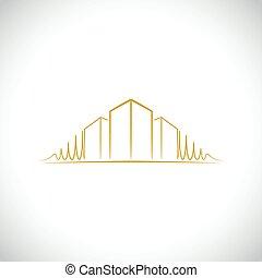 logo, arkitekt, gul