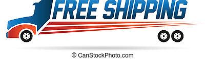 logo, avbild, lastbil, gratis, skeppning