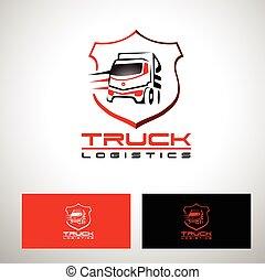 logo, design, vektor, lastbil, transport