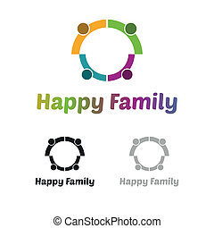 logo, familj, lycklig