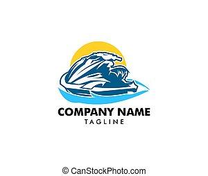 logo, formen, skida, jet, mall