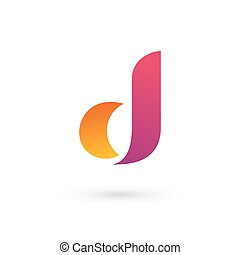 logo, ikon, d, brev