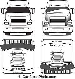 logo, lastbil, transport