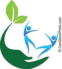 logo, lycklig, folk, hälsosam