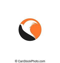 logo, mall, ikon, fågel, abstrakt, vektor, illustration