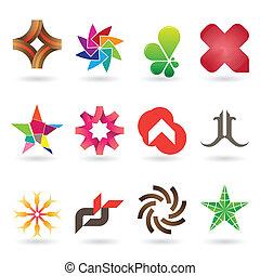 logo, samtidig, kollektion, ikon