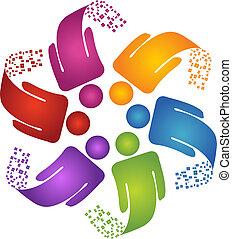 logo, skapande, design, teamwork