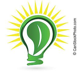 logo, sol, blad, lök, lätt