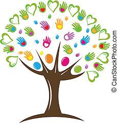 logo, symbol, hjärtan, träd, räcker