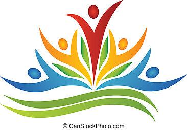 logo, teamwork, det leafs, blomma