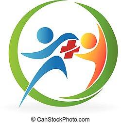 logo, teamwork, hälsa varsamhet