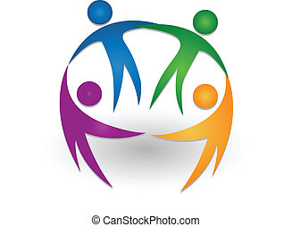 logo, teamwork, tillsammans, folk