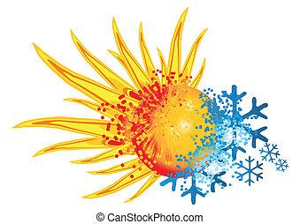 logo, varm, kall