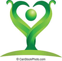 logo, vektor, grön, figur, natur