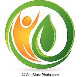 logo, vektor, hälsa, natur, man